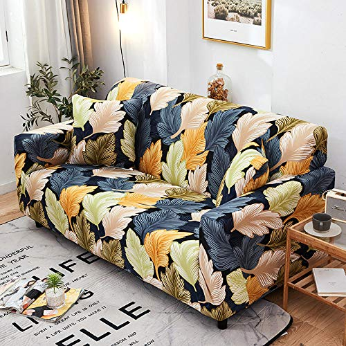 Funda Sofas 2 y 3 Plazas Hojas De Colores Fundas para Sofa con Diseño Elegante Universal,Cubre Sofa Ajustables,Fundas Sofa Elasticas,Funda de Sofa Chaise Longue,Protector Cubierta para Sofá