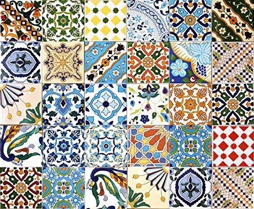 30 Mattonelle MISTE in ceramica smaltata. Pacco contenente 30 mattonelle decorate 15 X 15 cm spessore 0,6 cm - Mattonelle Tunisine realizzate con Serigrafia Artigianale. Adatte a rivestimento.