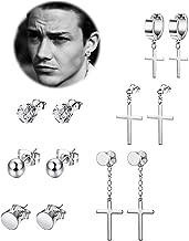 REVOLIA 6-14 Pairs Stainless Steel Dangle Cross Stud Earrings for Men Women Hoop Earrings Huggie Vintage Ear Piercing