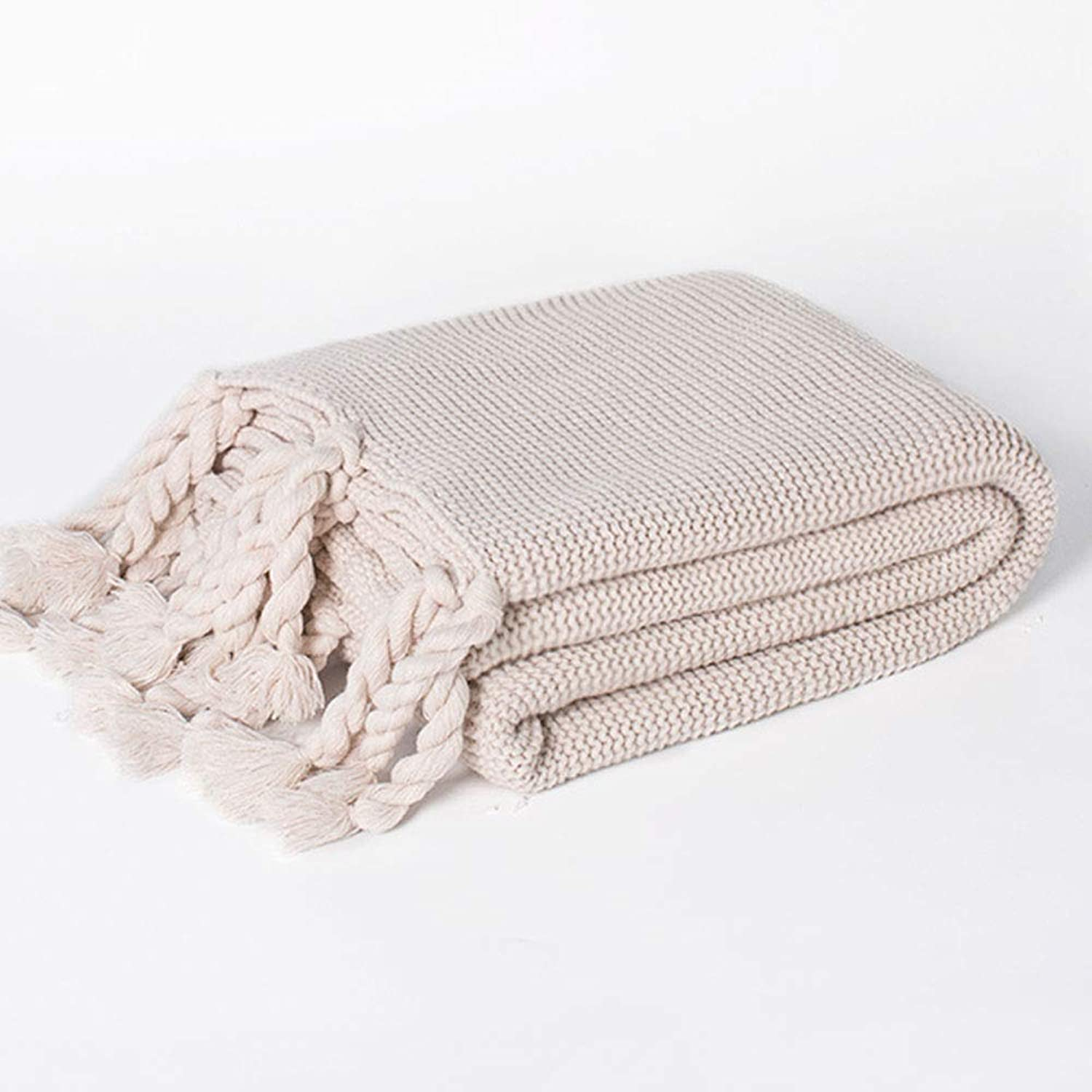 Photography Knitted Big blanket Soft Tassel Sofa blanket Covered Office Casual Napping blanket (color   Beige, Size   51.18  66.93)
