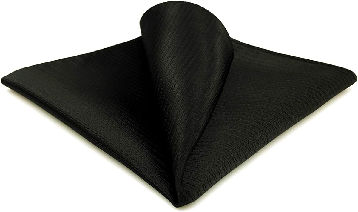 SHLAXWING Solid Manufacturer OFFicial shop Black Silk Pocket Handkerc for Men Hanky SEAL limited product Square