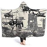 Henry Anthony 60X50 Inch Hooded Blanket, handgezeichnete Szene als Schlacht Atombombenexplosion Hubschrauber Stadt Ruine Inferno Schwarz Soft Throw Wrap Wele