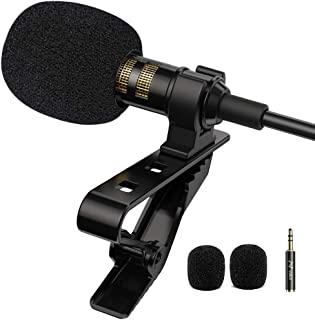 PoP voice Professional Lavalier Lapel Microphone Omnidirectional Condenser Mic for iPhone Android Smartphone,Recording Mic...