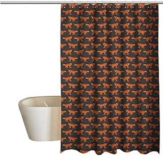 Genhequnan Fox Extra Wide Shower Curtain Tropical Forest Animal Silhouette Pattern Sketch Style Mammals of European Origins Durable Waterproof Bath Curtain W78 x L70 Inch Orange Charcoal Grey
