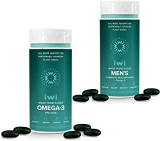 iwi Daily Essentials Bundle Omega 3 EPA+DHA and Men's Omega 3 with Complete Multivitamin Clinically Proven 50% Better Absorption Than Fish or Krill Oil Supports Brain, Heart, Joints & Eyes