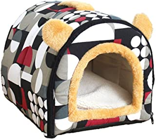 Pet House 2-in-1,Portable Washable Sofa Soft Comfy House For Pet Cat or Dog Igloo Bed Soft Cashmere Warm Pet Nest,Detachab...