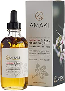 Amaki Organic Essential Oil for Face, Body, Lip, Hair Nails - Blend of Rosehip, Jojoba, Sweet Almond, Primrose, Argan, Jasmine - Effective Facial Moisturizer Serum - Reduces Wrinkles, Acne Scar