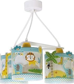 Dalber Lámpara Infantil de Techo 3 Luces My Little Animales Jungla, 60 W, Multicolor