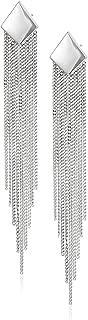 Rhodium Plated 925 Sterling Silver Chain Tassel Stud Drop Earrings