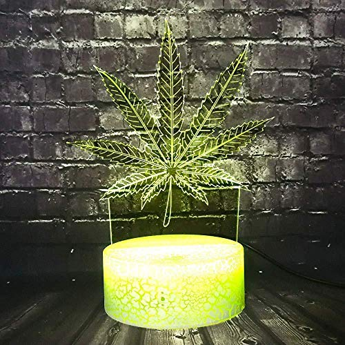 3D Night Light for Boys 3D Lamp Night Light Leaf Plant 7 Color Change Led Decor Room Table Night Light Friend Holiday Xmas Supply Lava Birthday Gift with Remote Control