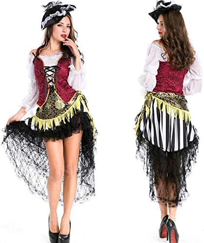 KAIDILA Masquerade Robe HalFaibleeen Costume Adulte Femme Pirate Costume Cosplay Femmes up Costume Femme Stade Tenue
