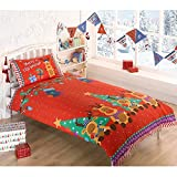 Rudolph Reindeer Christmas Kids Presents Stars Quilt Duvet Cover and 2 Pillowcase Bedding Bed Set, Red, Double