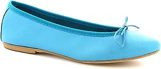 Leonardo Shoes Scarpe Ballerine da Donna Artigianali in Nappa Color Turchese - Codice Modello: 6087 Cuoio Nappa Turchese
