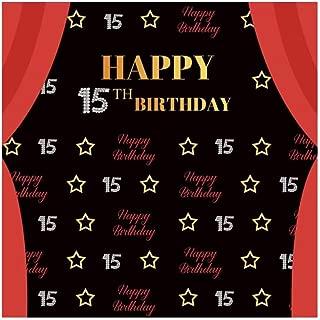 OFILA 15th Birthday Backdrop 8x8ft Birthday Party Photos Background Curtain Photos Happy Birthday Photos Background Teenager Birthday Photo Shoot Props