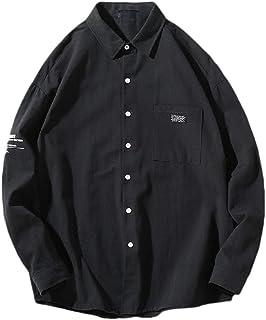 qianqianq Mens Long Sleeve Casual Loose Button Down Cotton Pure Colour Shirt