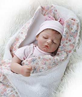 OCSDOLL Reborn Baby Doll Girl Cute Realistic Soft Silicone Vinyl Sleeping Doll 22 Inches Gift for Ages 3+