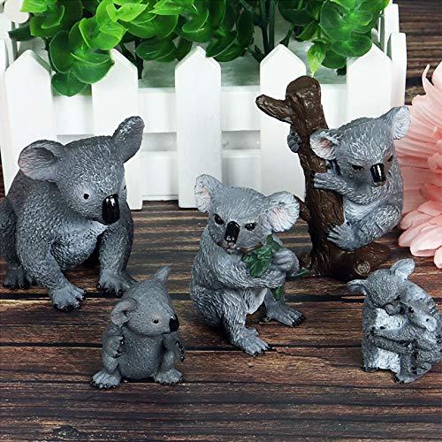Climbing Koala Statue, Koala Family Figurine Simulated, Mini Koala Bear Miniature Figurines Animals Indoor Outdoor Ornaments Plastic Home Office Decor Gift Toy Set of 5