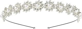 SWEETV Sliver Pearl Bridal Headband, Flower Crystal Wedding Headpiece for Bride, Rhinestone Hair Accessorie Tiara for Women