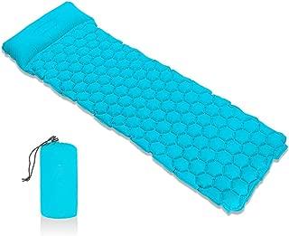 serveyou Inflatable Mattress Cushion Sleeping Bag Mat Fast Filling Air Moistureproof Camping Beach Mat with Pillow Sleeping Pad