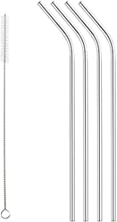 Set of 4 Stainless Steel Drinking Straws, Universally Fits 16 oz - 40 oz cups including RTIC and Yeti 20 oz 30 oz and FIRE...