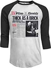 MarshallD Men's Jethro Tull Thick As A Brick 3/4 Sleeve Raglan Baseball Tshirt Black