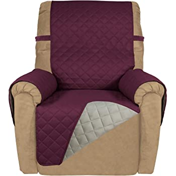 Anemoner Relax Armchair Cover Waterproof Quilted Reclining Chair Cover with Pocket 1 Seater Coffee Protective Armchair 180X53cm