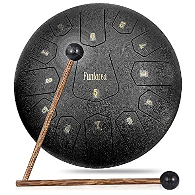 Steel Tongue Drum 13 Notes 12 Inches Tongue Steel Percussion Padded Travel Bag and Mallets ,Music Education Yoga Conference Office Home Music Score (Black)