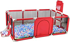 Babies Playpen Large Indoor Anti-Fall Baby Playpen Durable Strong Guardrail Kids Safety Play Center Yard with Colored Ball for 0-4 Ages Oxford cloth-Two Colors Red Blue  -190 129 66cm