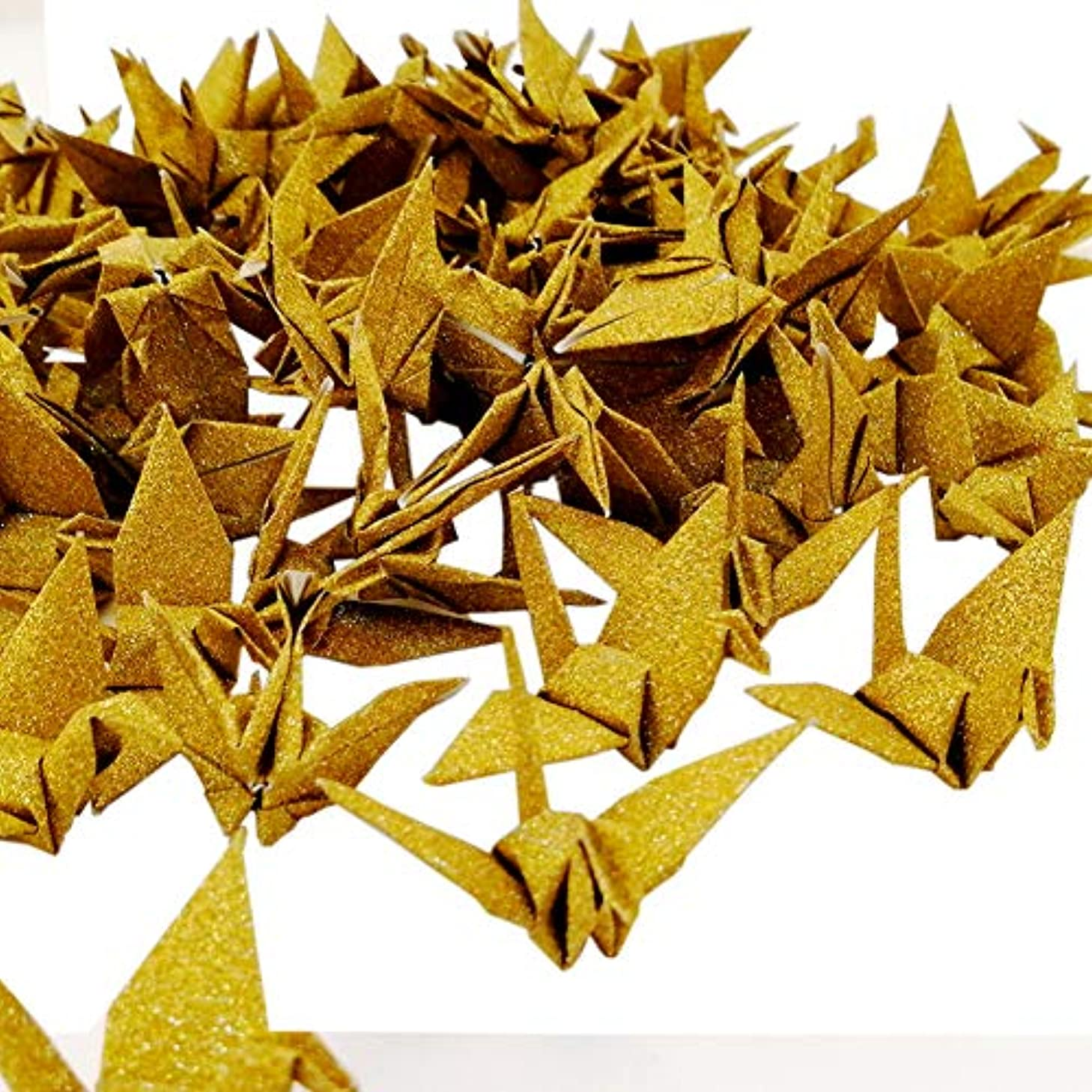 Hangnuo 50 PCS Glitter Origami Paper Cranes Folded DIY Japanese Crane Mobile String Garland for Wedding Party Backdrop Home Decoration, Glitter Gold