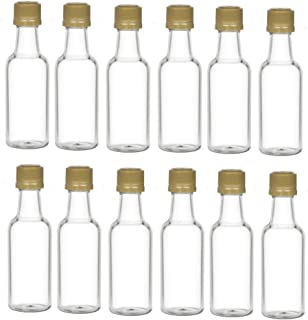 Nakpunar 12 pcs 50 ml Clear Plastic Liquor Bottles with Gold Cap - MADE IN USA