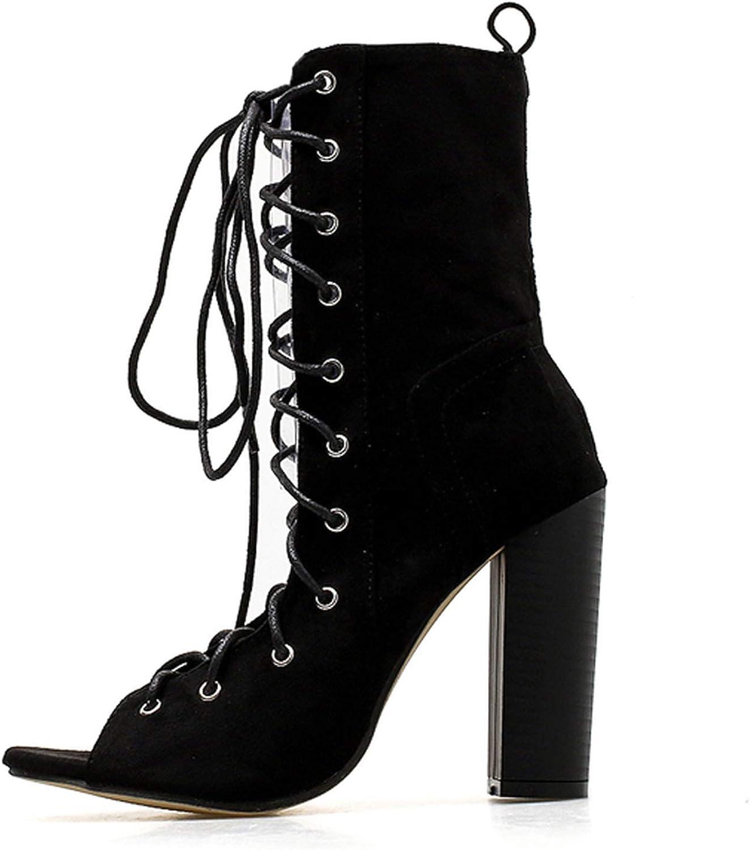 IOJHOIJOIJOIJMO 2019 Ankle Boots for Women Peep Toe Lace-Up Cross-Tied Heel Pumps Roman Women Bootas Sandals Brown Black