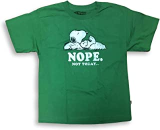 Peanuts Snoopy Nope Not Today Crew Neck Youth T-Shirt X-Large 18/20 Green