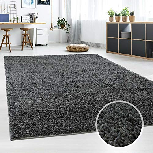 Hochflor Teppich | Shaggy Teppich fürs Wohnzimmer Modern & Flauschig | Läufer für Schlafzimmer, Esszimmer, Flur und Kinderzimmer | Langflor Carpet dunkelgrau 120x170 cm