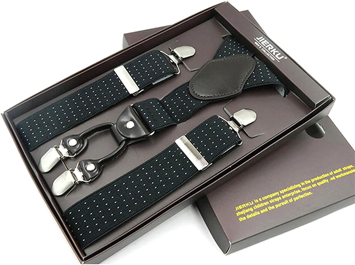 Man Leather 4 Clips Braces Adjustable Four Clip-On Trousers Suspensorio Husbands/Father