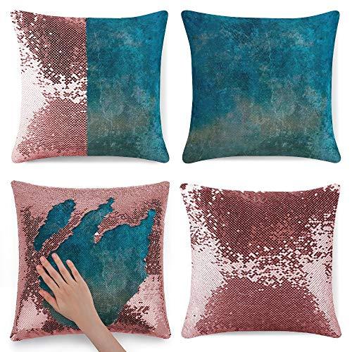 pealrich Fundas de cojín cuadradas para sofá cama, color azul turquesa y azul de franela, fundas de cojín decorativas, 40,6 x 40,6 cm