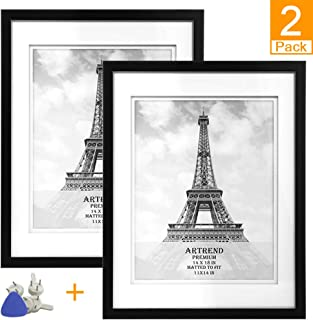 ARTrend Picture Frames 14x18 with 11x14, Double Mat, Shadow Box Photo Frames for Wall Decor. Mounting Materials Included. Set of 2 Pack,Black.