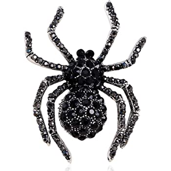 SELOVO Party Crystal Snake-Shape Statement Black Brooch Pin Badge Backpack Bag Halloween Jewelry Silver Tone