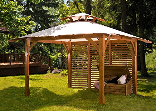 "Jadrín Verde – Pavillon aus Holz ""Waikiki"" mit Dach aus robustem Stoff. Maße: 3,34m x 3,34m"