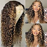 180% Density Ombre blonde 1B/27 Color Curly human hair wigs for black women Deep Wave HD Human Hair Lace Wigs with Highlight 13X4 lace frontal wigs human hair pre plucked bleached knots 16'