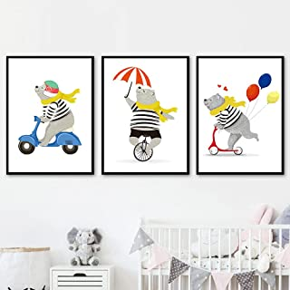 SSHABC Björn elektrisk bil skottkärra cykel ballong väggkonst kanvas målning nordiska affischer och tryck väggbilder barnr...