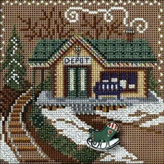 Train Depot Beaded Counted Cross Stitch Kit Mill Hill 2006 Buttons & Beads MH146304