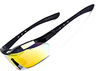 Reksai Cycling Glasses Sports Sunglasses for Men Unbreakable Frame Adjustable Nose Pad for Running Driving Outdoor Sports