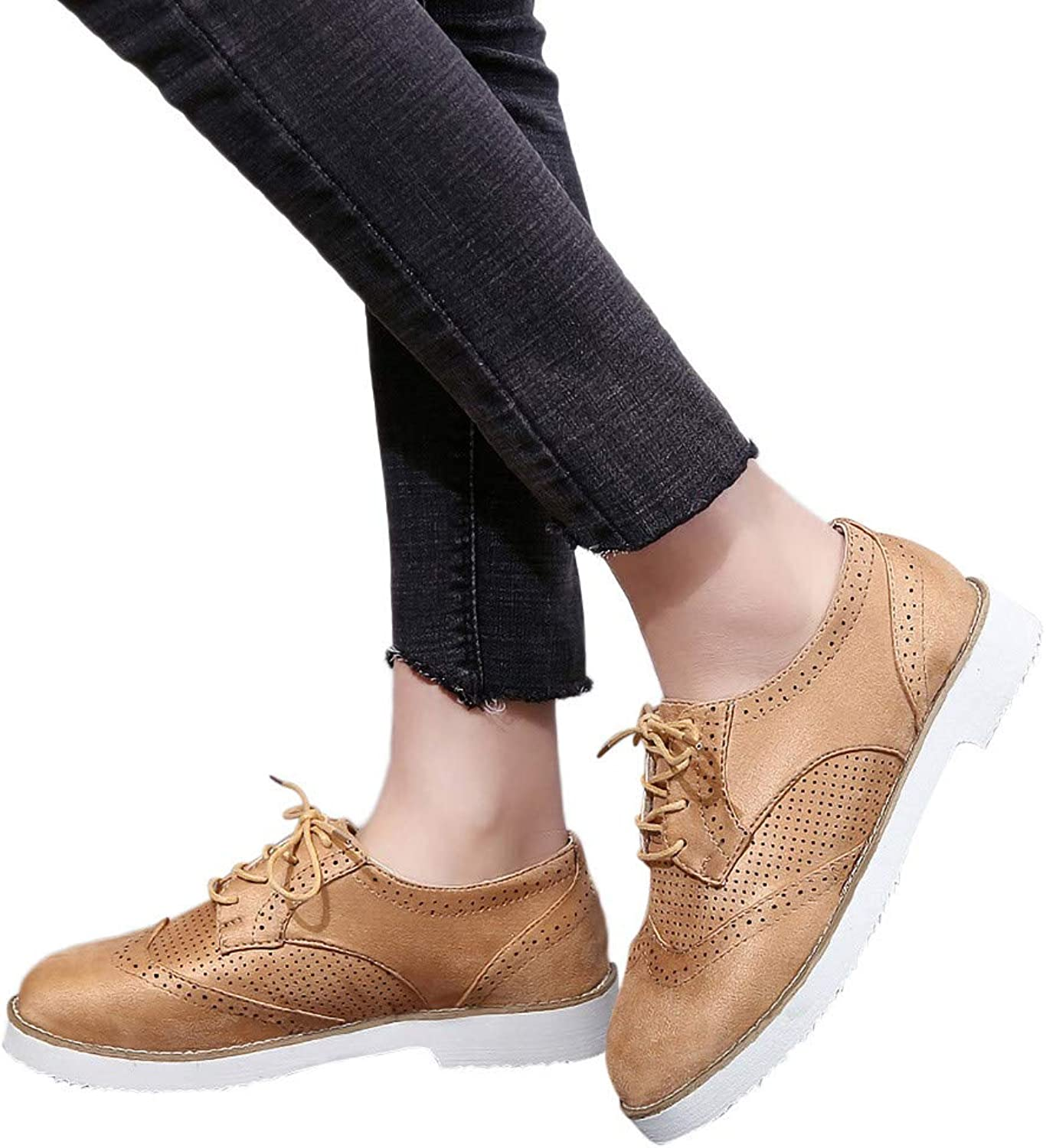 Fheaven 2019 Women's Classic Leather Pointed Toe Ankle Sneaker Lace up Dress shoes Sport shoes gold