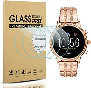 Suoman 4-Pack for Fossil Women Gen 5 Julianna Tempered Glass Screen Protector for Fossil Gen 5 Women Julianna Smartwatch [Anti-Scratch] [Perfectly Fit] [Optimized Version]