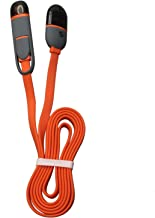 Teckology 1m long hybrid siamese body high speed flat noodle 2 in 1 USB data universal cable 8 pin and micro Orange