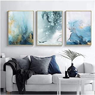 Kkglo 3Pcs Abstract Geometric Poster Gold Green Blue Nordic Wall Art Picture Prints Canvas Painting Modern Living Room Dec...