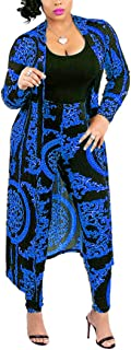 Max2co Nice2co Women 2 Piece Outfits Floral Long Sleeves Open Front Cardigan Cover up with Leggings High Waist Long Pants Set (Blue, 3XL)