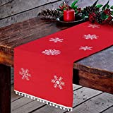 OurWarm Embroidered Christmas Table Runners with White Snowflake, Red Table Runner Table Linens for Christmas Table Decorations 16x72 Inch