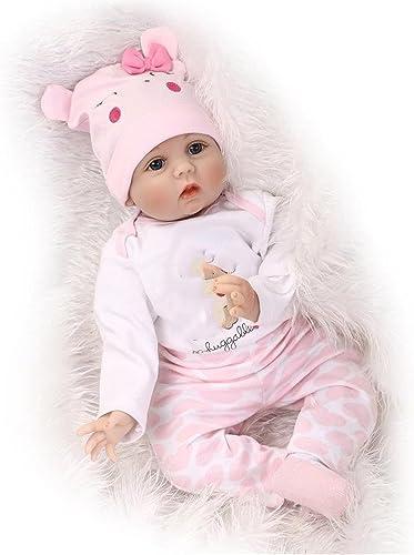 Soft Hair Wurzeln realistisch wiedergeboren Baby Dolls Soft Silikon 22   55Cm realistische Neugeborenen Puppe Girl Xmas Geschenk Urlaub Hochzeit Verringerung Angst helfen Autismus schwangere Frauen