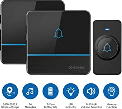X-Sense C2 Wireless Doorbell Chime Kit, Operating at 2,000 Feet Ultra-Long Range with 2 Plug-In Receivers 56 Melodies and 5 Volume Levels, CD Quality Sound and LED Flash for Home and Classroom, Black